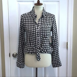 NWT ABOUND Nordstrom Black Annet Check Top XS
